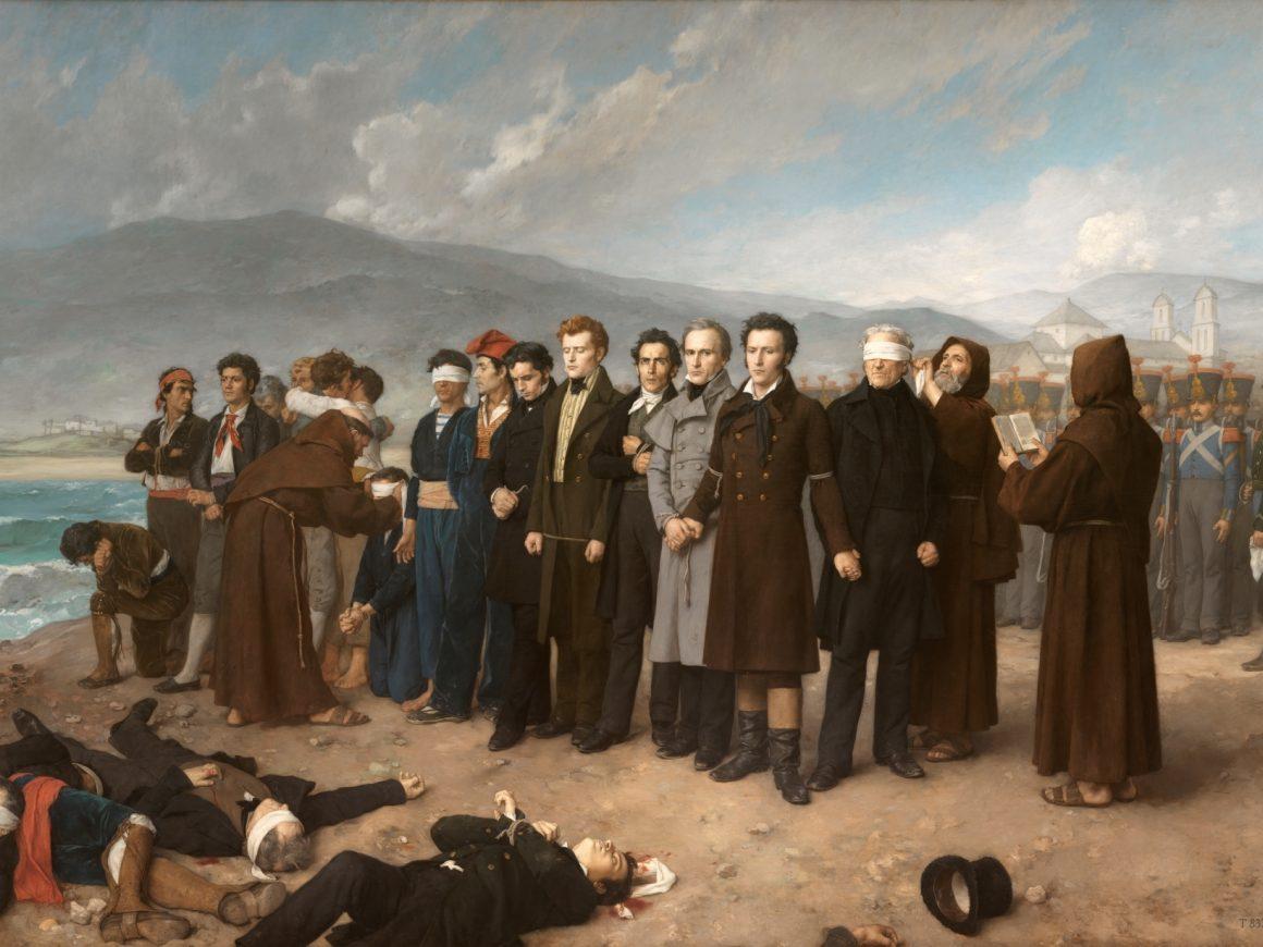 Fusilamiento de Torrijos y sus compañeros en las playas de Málaga de Antonio Gisbert (1888) (Museo del Prado)